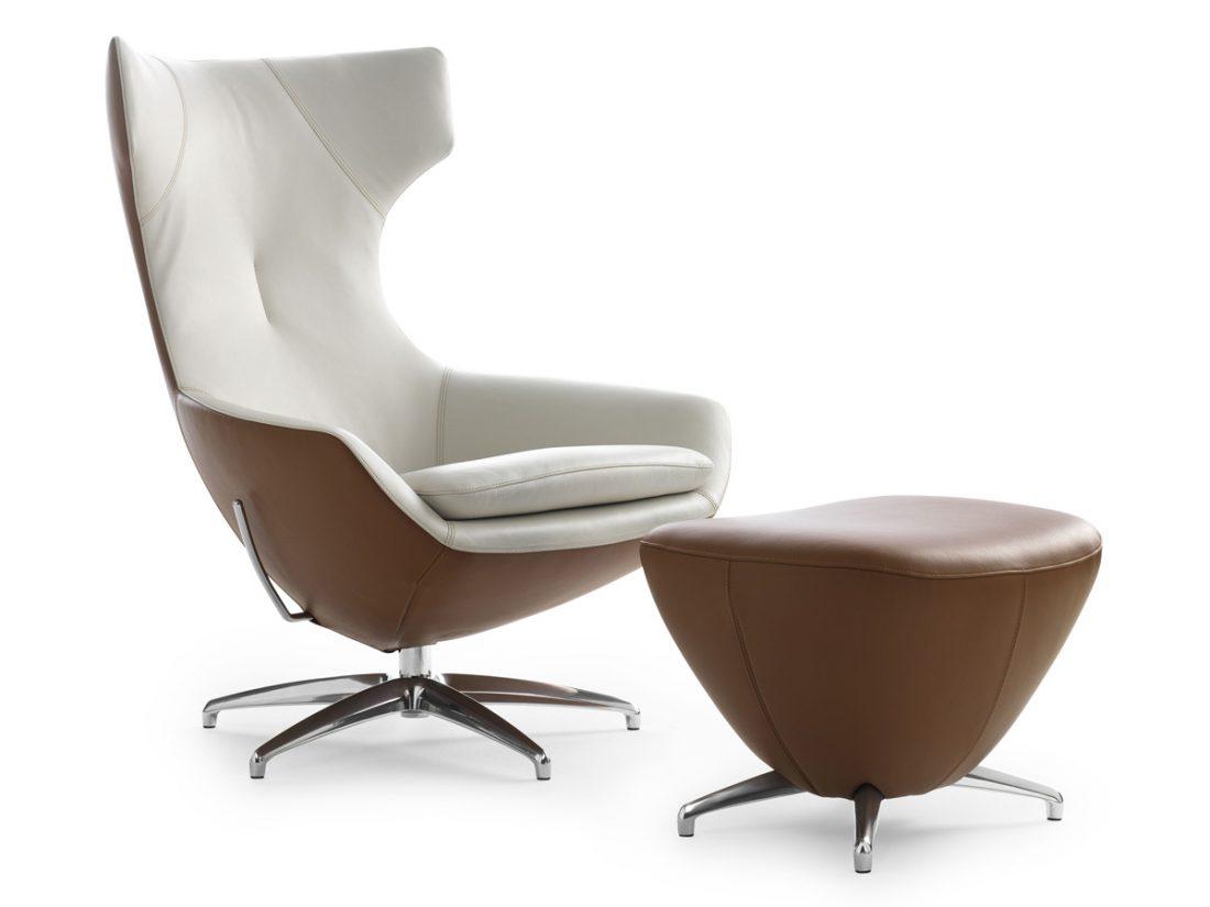 Leolux Caruzza fauteuil wit-bruin
