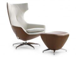 Leolux Caruzzo fauteuil wit-bruin