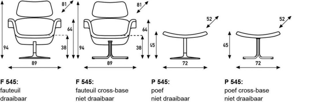 Artifort Tulip fauteuil afmetingen