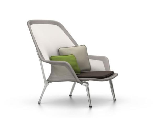 Vitra slow chair bruin creme met gepolijst onderstel