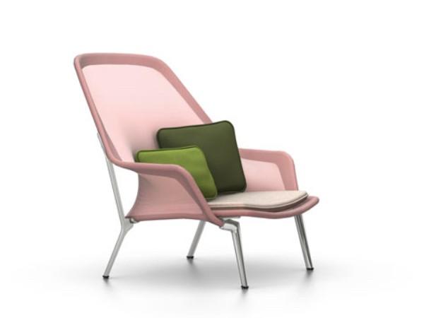 Vitra slow chair rood creme met gepolijst onderstel