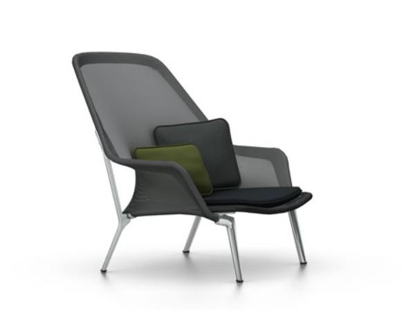 Vitra slow chair zwart met gepolijst onderstel
