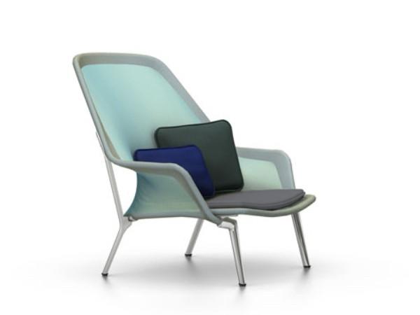 Vitra slow chair blauw/groen met gepolijst onderstel