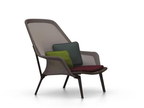 Vitra slow chair bruin met chocolade onderstel