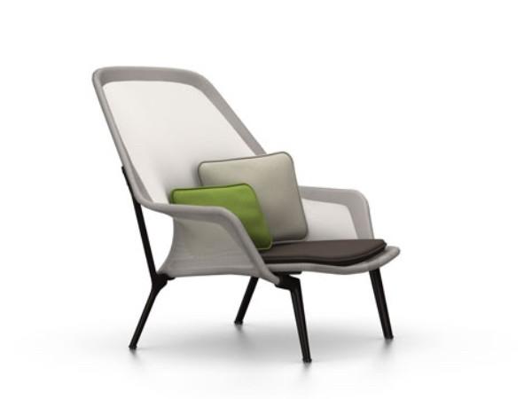 Vitra slow chair bruin creme met chocolade onderstel