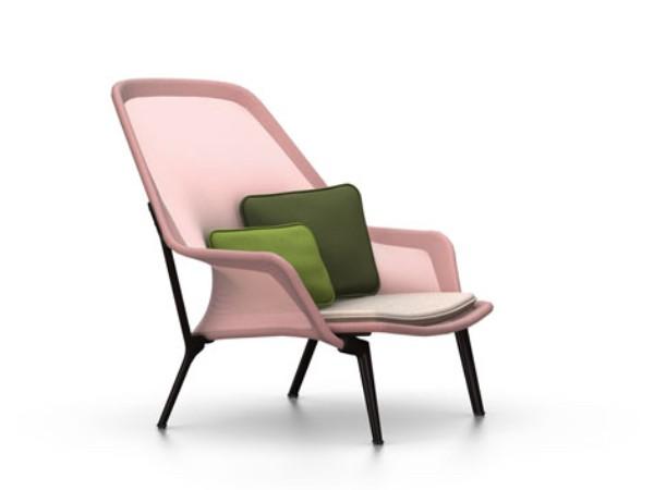 Vitra slow chair rood creme met chocolade onderstel
