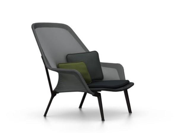 Vitra slow chair zwart met chocolade onderstel