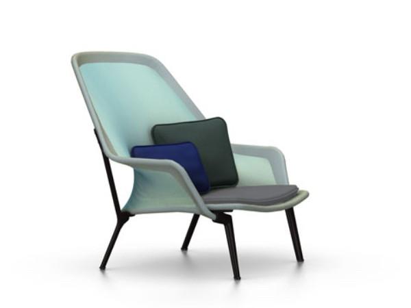 Vitra slow chair blauw/groen met chocolade onderstel